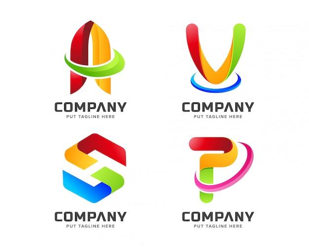 Plantilla de logotipo inicial de gradiente de negocios arco iris colorido con forma abstracta