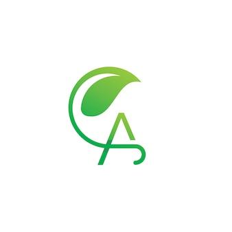 Una plantilla de logotipo inicial de hoja