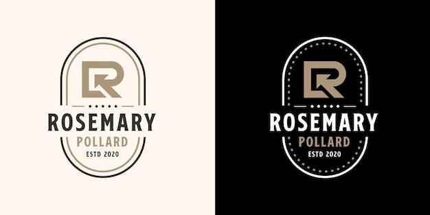 Plantilla de logotipo inicial letra r con color dorado
