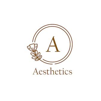 Plantilla de logotipo inicial de monoline con forma floral y circular