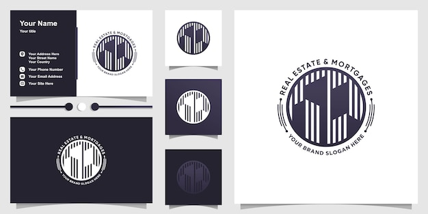 Plantilla de logotipo inmobiliario con concepto creativo