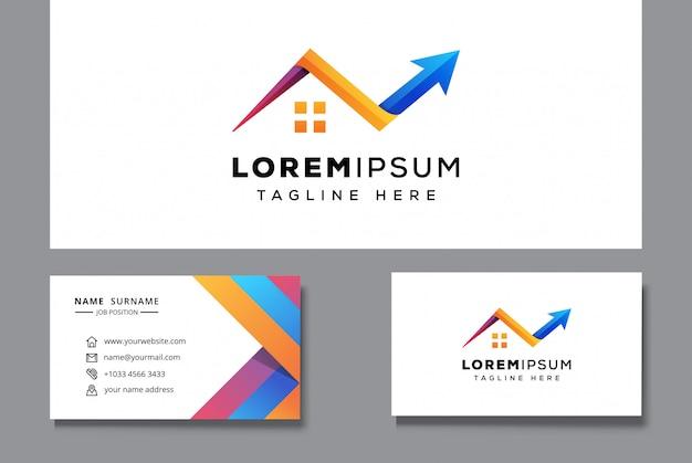 Plantilla de logotipo inmobiliario con tarjeta de visita