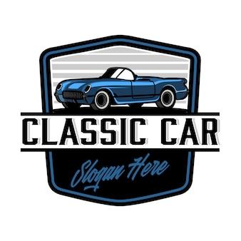 Plantilla de logotipo de insignia de coche clásico vintage