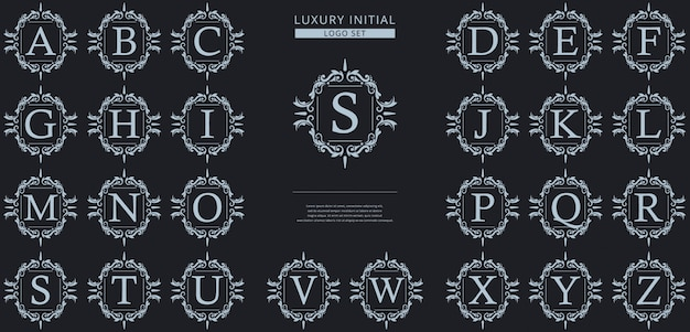 Plantilla de logotipo de insignia inicial de lujo