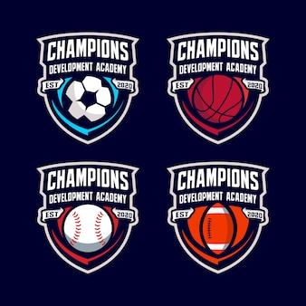 Plantilla de logotipo de insignia de pelota deportiva