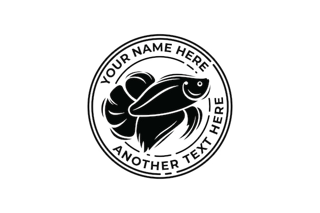 Plantilla de logotipo de insignia de pez betta