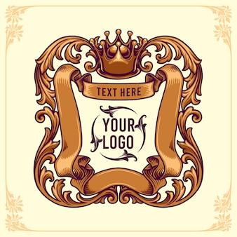 Plantilla de logotipo de insignias de rey adornos de marco floral