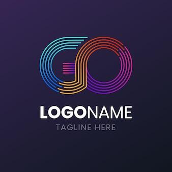 Plantilla de logotipo de ir degradado creativo