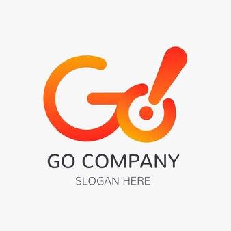 Plantilla de logotipo de ir degradado con espacio de lema