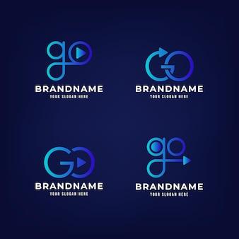 Plantilla de logotipo de ir degradado
