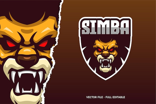 Plantilla de logotipo del juego lion e-sport