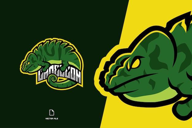 Plantilla de logotipo de juego de mascota camaleón