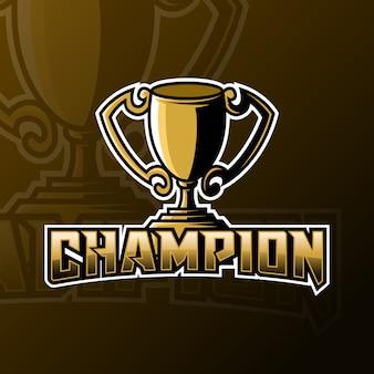 Plantilla de logotipo de juego de mascota de campeón trofeo