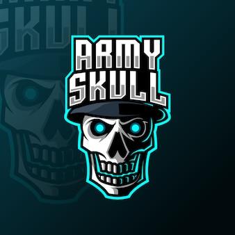 Plantilla de logotipo de juego de mascota de cráneo ejército sombrero
