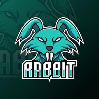 Plantilla de logotipo de juego de mascota de diente largo de conejo verde