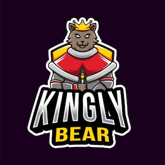 Plantilla de logotipo de kingly bear esport