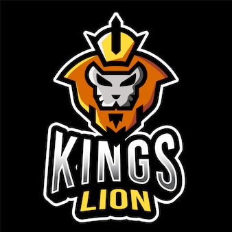 Plantilla de logotipo de kings lion esport