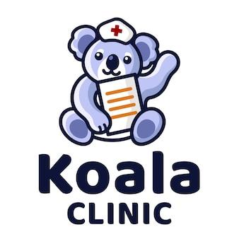 Plantilla de logotipo de koala clinic cute kids