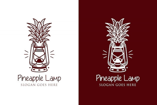 Plantilla de logotipo de lámpara de piña