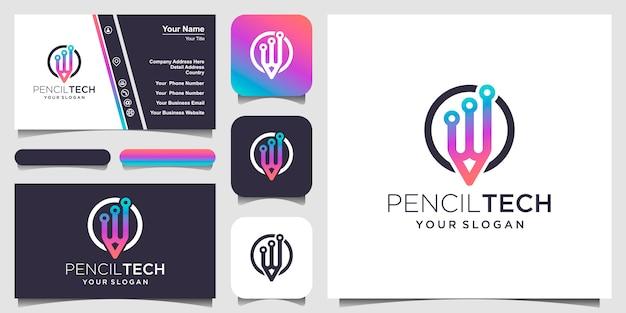 Plantilla de logotipo de lápiz con un tema de tecnología y diseño de tarjeta de presentación