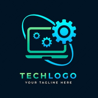 Plantilla de logotipo de laptop degradado creativo