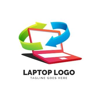 Plantilla de logotipo de laptop degradado