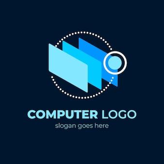 Plantilla de logotipo de laptop de diseño plano creativo