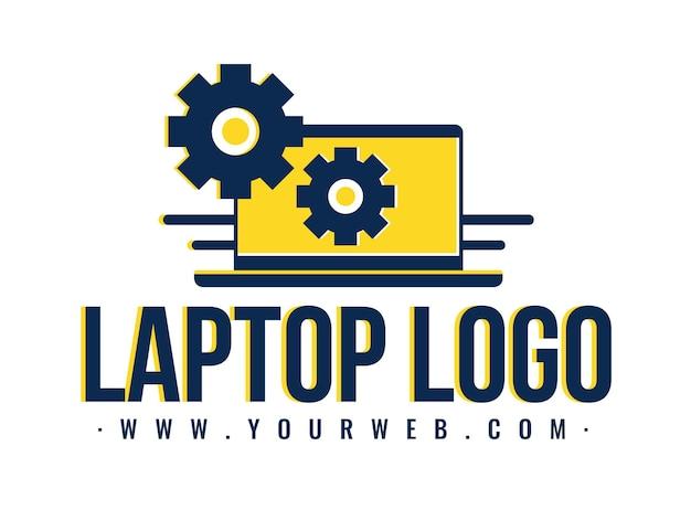 Plantilla de logotipo de laptop de diseño plano