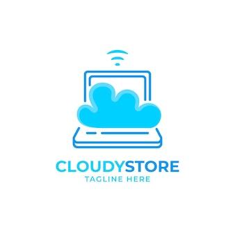 Plantilla de logotipo de laptop plana creativa