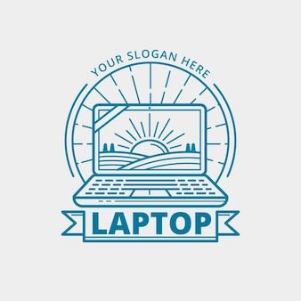 Plantilla de logotipo de laptop plana lineal
