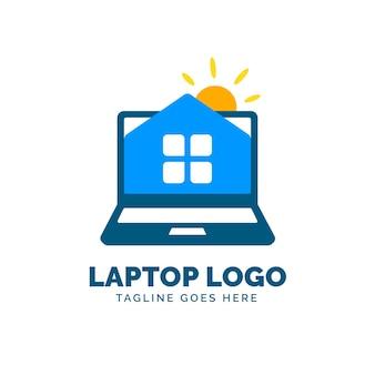 Plantilla de logotipo de laptop plana