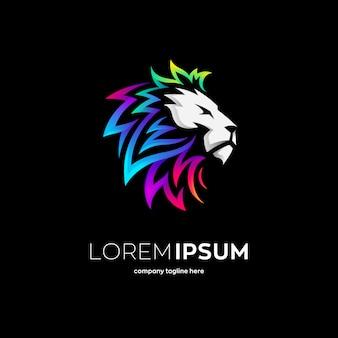 Plantilla de logotipo de león colorido