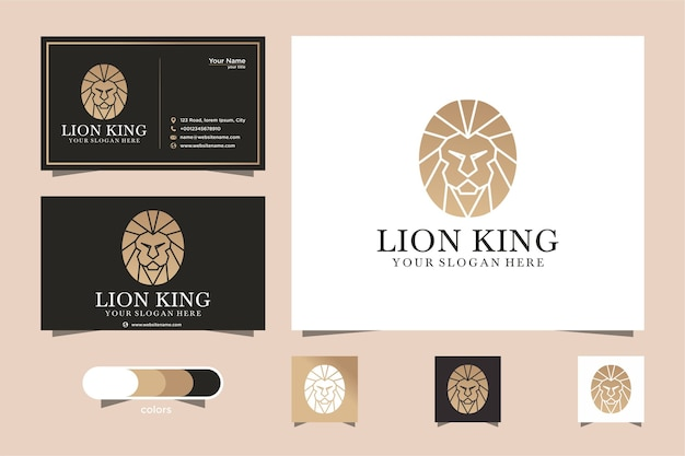 Plantilla de logotipo de león y tarjeta de visita