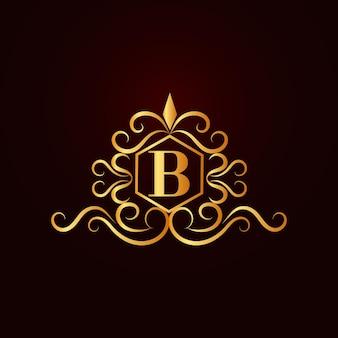 Plantilla de logotipo de letra b ornamental elegante dorado plano