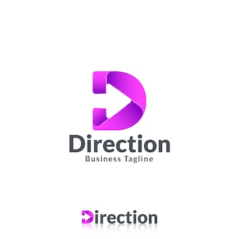 Plantilla de logotipo letra d con flecha