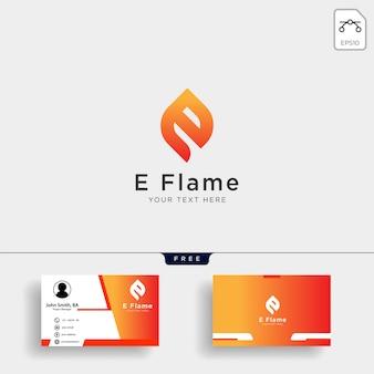 Plantilla de logotipo de letra e llama con tarjeta de visita