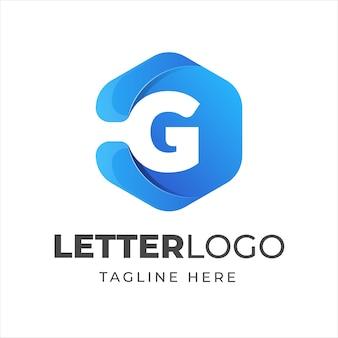 Plantilla de logotipo letra g con estilo de forma geométrica