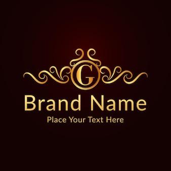 Plantilla de logotipo de letra g ornamental elegante plano dorado
