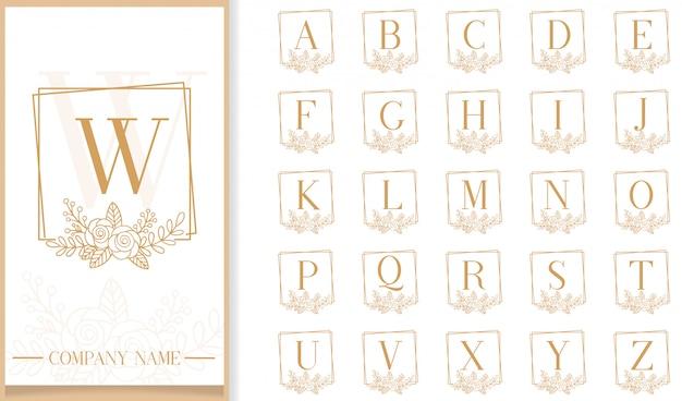 Plantilla de logotipo de letra de marco floral de lujo