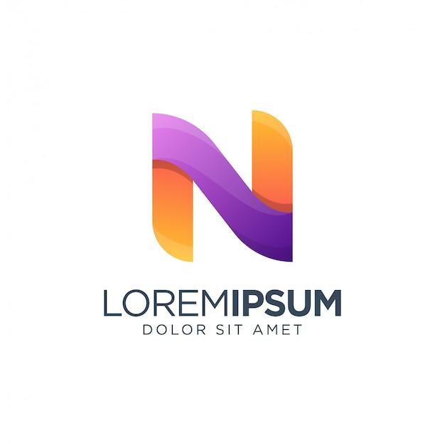Plantilla de logotipo de letra n