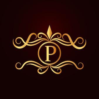 Plantilla de logotipo de letra p ornamental elegante dorado plano