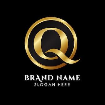 Plantilla de logotipo de la letra q de lujo en color dorado