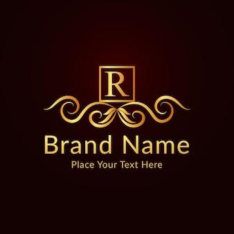 Plantilla de logotipo de letra r ornamental elegante plano dorado