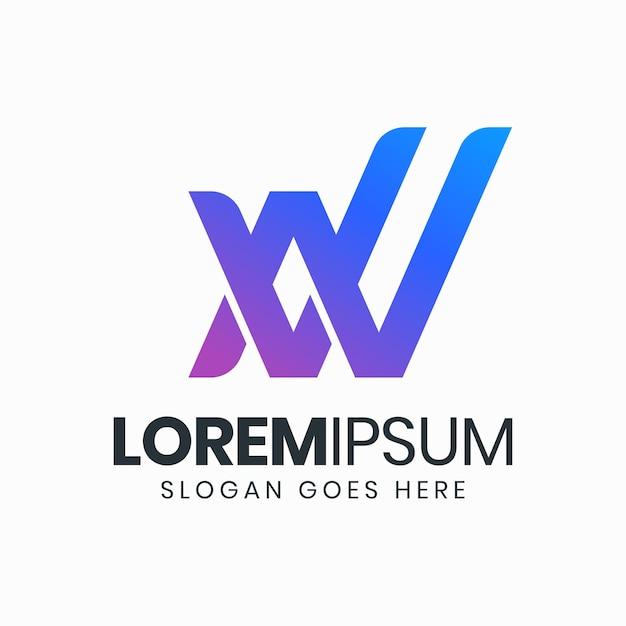 Plantilla de logotipo de letra vn degradado moderno