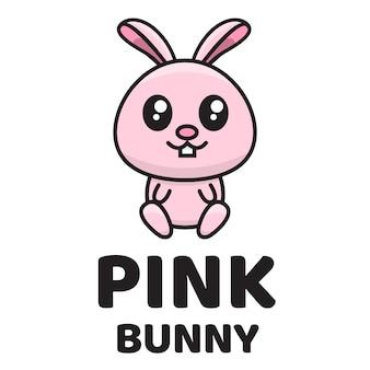 Plantilla de logotipo lindo conejito rosa