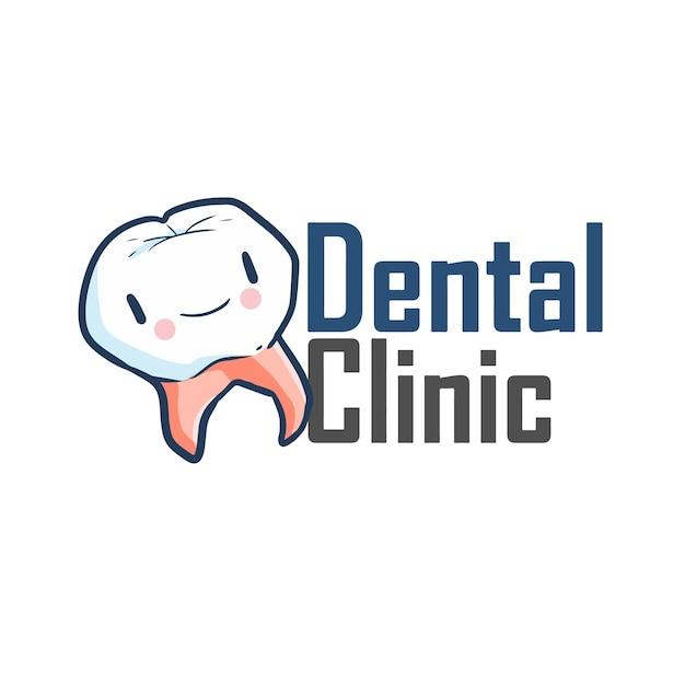 Plantilla de logotipo lindo y divertido para empresa de clínica dental