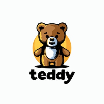 Plantilla de logotipo lindo oso de peluche