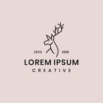 Plantilla de logotipo de línea de ciervos de línea