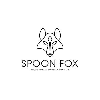 Plantilla de logotipo lineal fox spoon