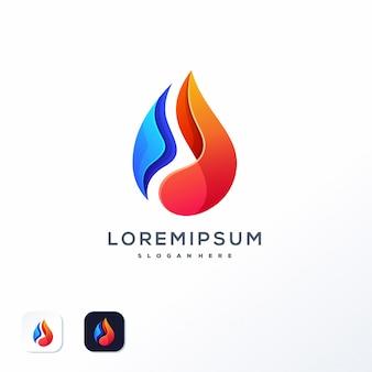 Plantilla de logotipo de llama de agua